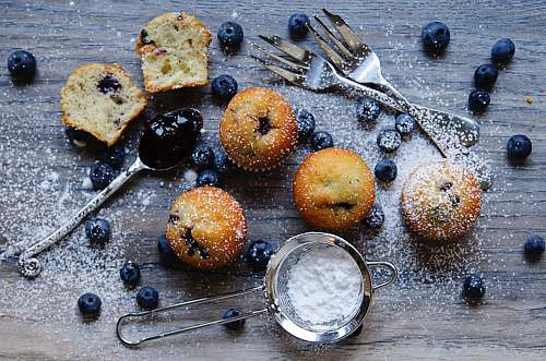 bread baked muffins cutlery