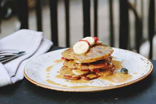 pancake baked patty in plate pancakes