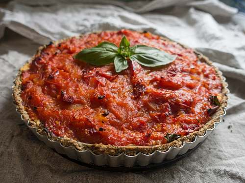 pizza baked pie in gray tin pastry