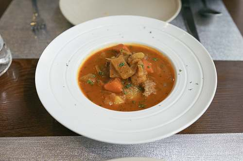 curry beef stew served on dish bowl