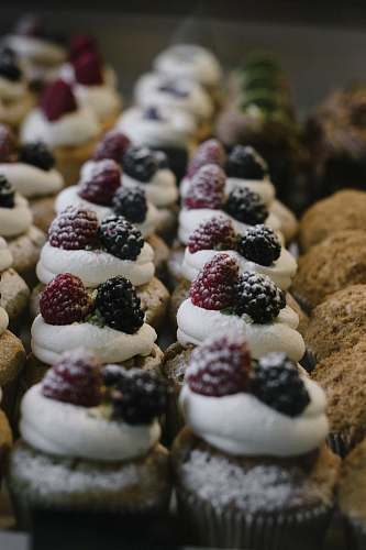 confectionery berry topped cupcakes sweets