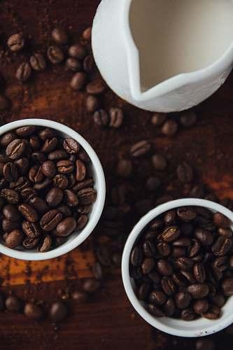 coffee black coffee beans in ceramic mugs bean