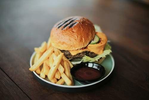 bread bowl of fries and burger burger