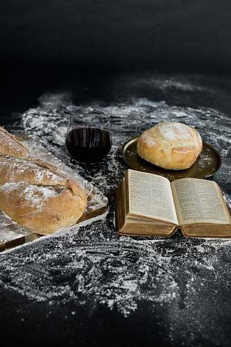 bread bread beside book page bun