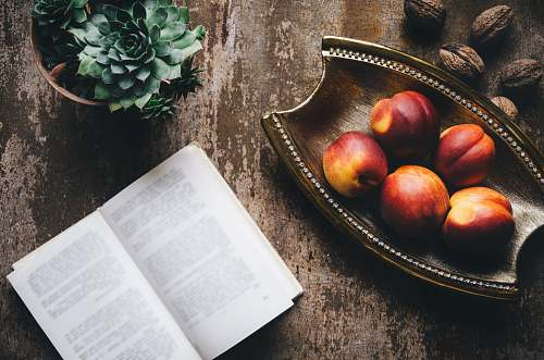 book brown wooden tray fruit