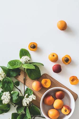 photo plant bunch of peach on white surface fruit free for commercial use images