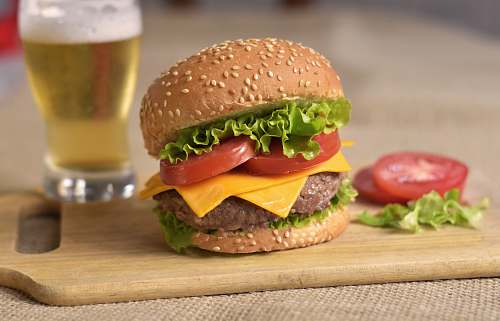 photo burger burger patty on board alcohol free for commercial use images