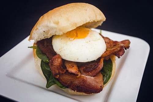 burger burger with egg breakfastmeat