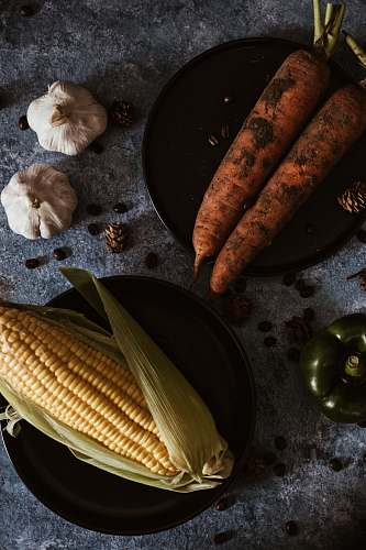 plant carrots and corn on plate vegetable