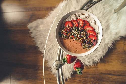 fruit cereal with sliced strawberries strawberry