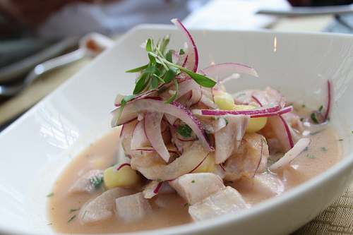 meal ceviche on white bowl dish