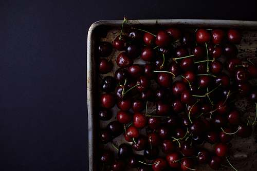 plant cherry lot in tray fruit