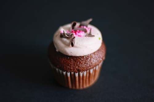 creme chocolate cupcake with white icing and grated chocolate dessert