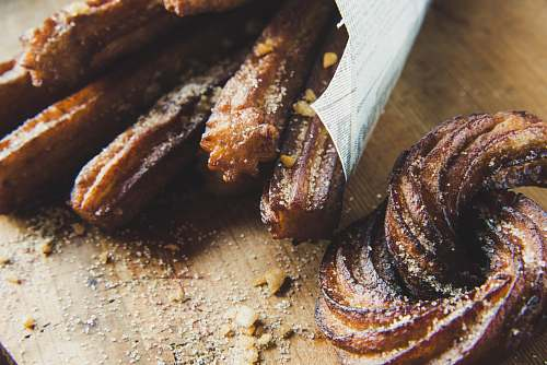bread churros on chopping board french toast