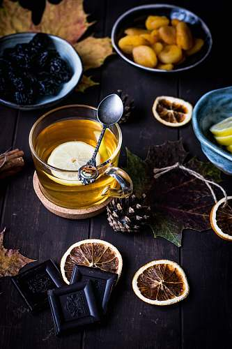 tea clear glass teacup on table drink