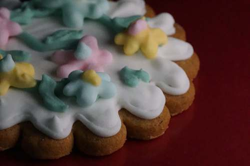 sweets cookie with icing on table confectionery