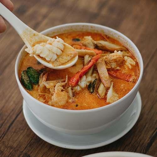 dish crab soup on white ceramic bowl bowl