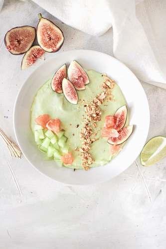 fruit cream on bowl fig
