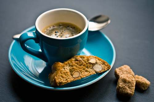 biscuit cup of coffee and bread on saucer closeup photography cookie