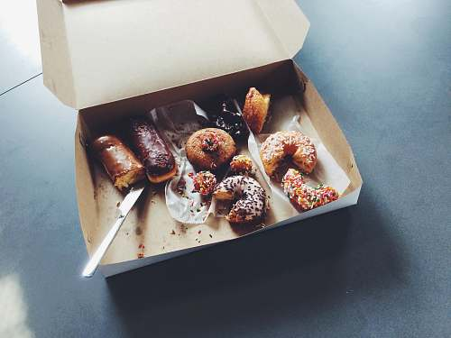 chocolate doughnuts on box donuts