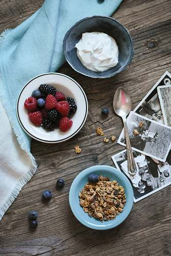 breakfast flat lay photograph of raspberries and whip cream bowl