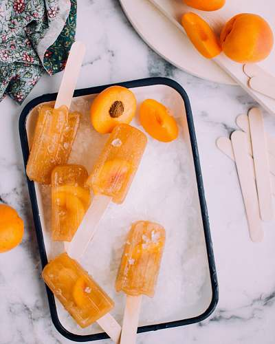 fruit flat lay photography of ice cream popsicles summer
