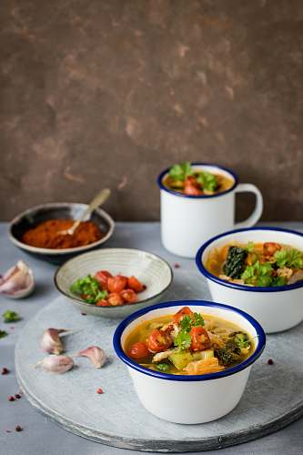 bowl food dishes served on cups and saucer plate