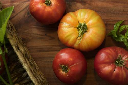 apple four red and yellow tomato fruits plant