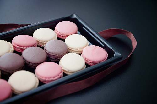 sweets French macaroons platter egg