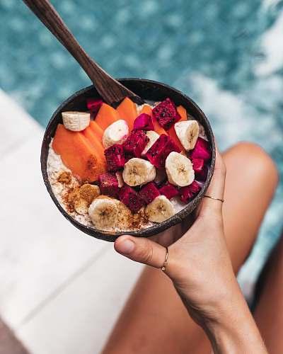 human fruits in bowl breakfast
