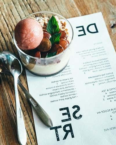 dessert glass of dessert on table cream