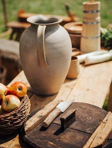 jug gray clay jar apple
