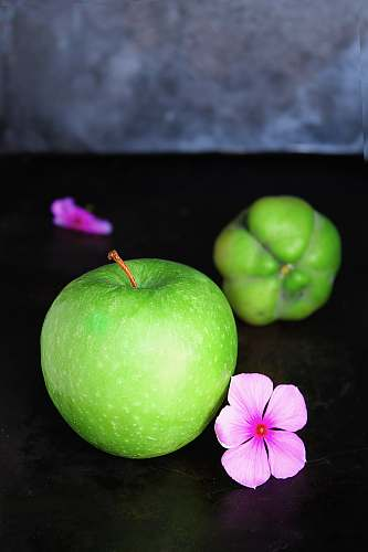 fruit green apple and pink flower apple