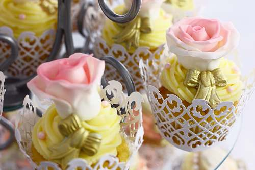 dessert group of pink-and-white roses party favors cupcake