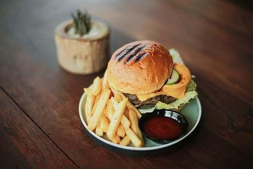 burger hamburger and French fries brown