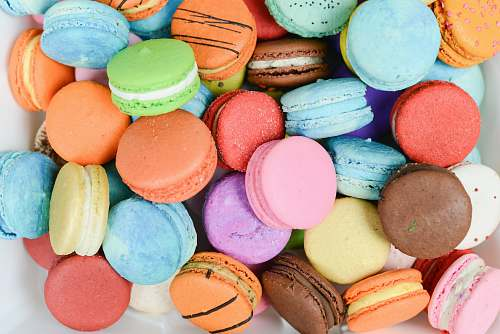 sweets high-angle photography of French macarons confectionery
