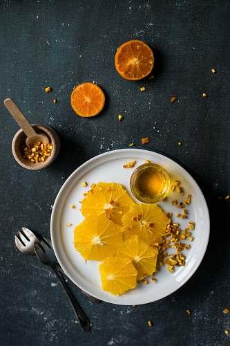 honey lemon serve on white plate orange
