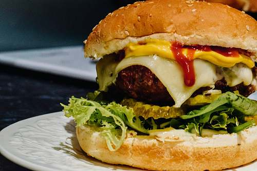 burger meat, cheese, lettuce and mustard burger australia