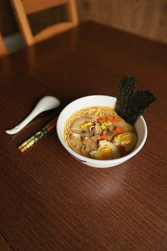 bowl noodle soup on white bowl dish