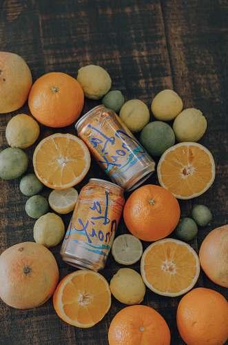 fruit orange and citrus fruits and La Croix cans citrus fruit