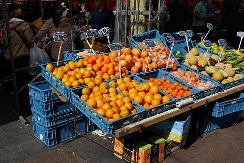 fruit oranges on blue plastic crates citrus fruit
