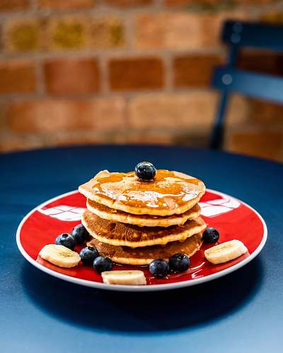 pancake pancake with blueberries on top bread