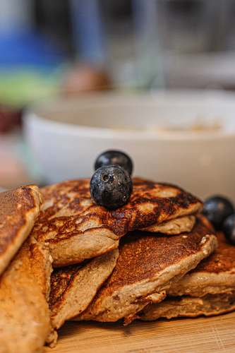 bread pancakes with blackberries pancake