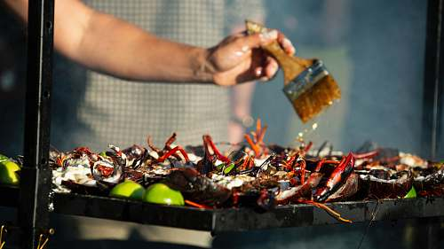 seafood person grilling food animal