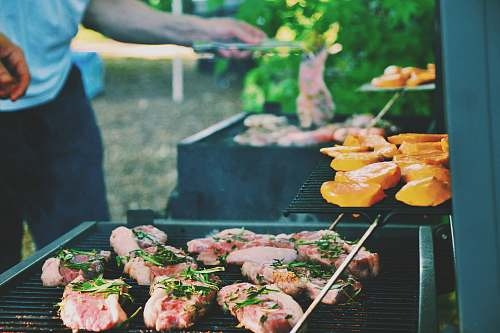 bbq person grilling meat person