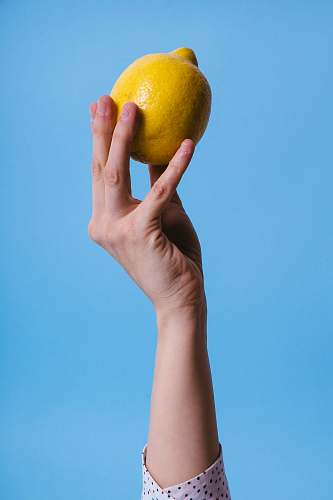 fruit person holding lemon grapefruit