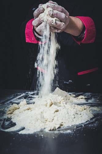 flour person mixing dough human