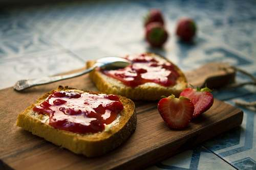 breakfast photo of bread with strawberry jam bread