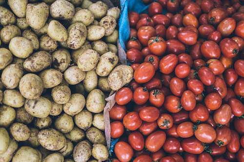 produce photography of orange tomatoes and brown potatoes tomato