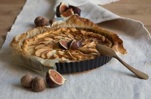 dessert pie on gray textile cake